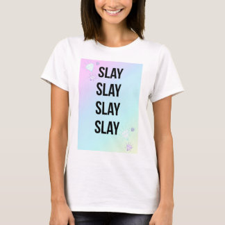 Slay Slogan Pastel Print White T-Shirt
