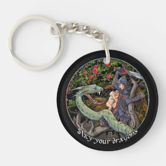 Slay your dragon. Jordan Peterson Personalize Key Ring
