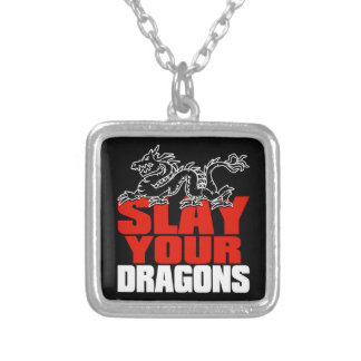 SLAY YOUR DRAGONS, gift for Jordan Peterson fans Silver Plated Necklace
