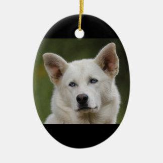 sled dog ceramic oval decoration