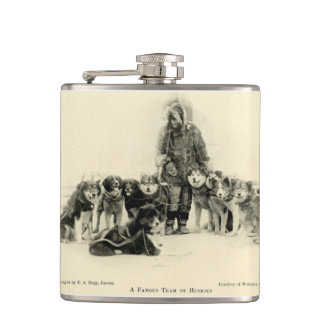 sled dogs hip flask