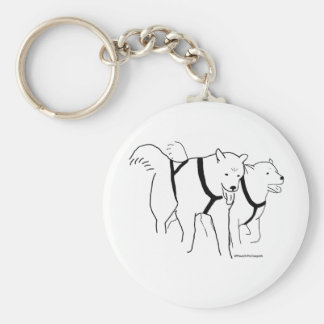 Sled Dogs in Harness Basic Round Button Key Ring