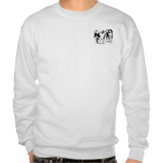 Sled dogs playing pullover sweatshirts