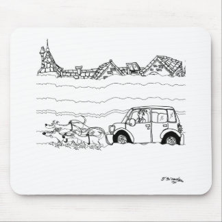 Sled Dogs Tow a Car Mouse Pad