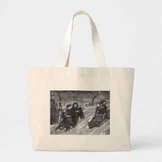 Sled Race Vintage Victorian Toboggan Christmas Jumbo Tote Bag