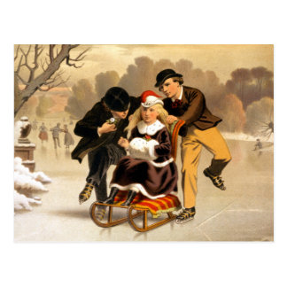 Sledding and Skating Vintage Illustration Postcard