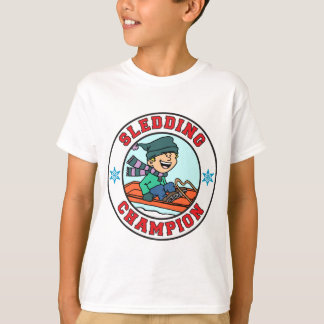 Sledding Champion Cartoon Boy T-Shirt