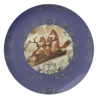 Sledding Foxes Plate