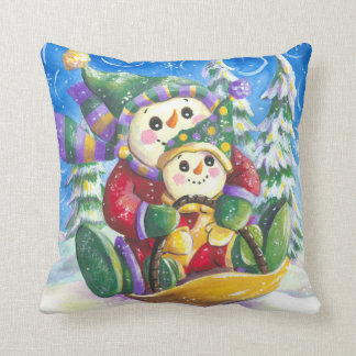 sledding snowmen pillow cushion
