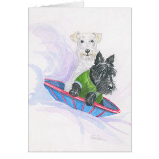 Sledding Terriers Card