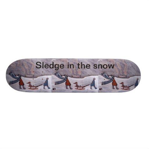 Sledge in the snow,skateboard