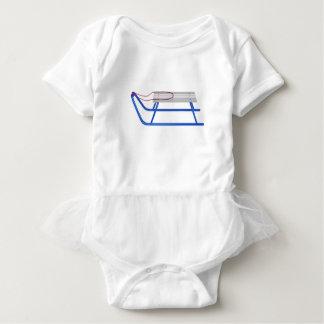 Sledge on white baby bodysuit