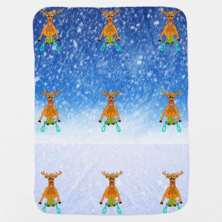 Sledging Reindeer Baby Blanket