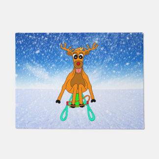 Sledging Reindeer Doormat