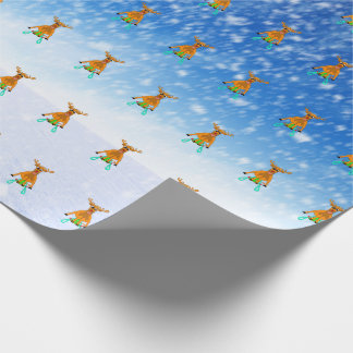 Sledging Reindeer Wrapping Paper