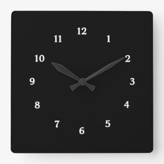 Sleek and Simple Black Clock with White Numbers