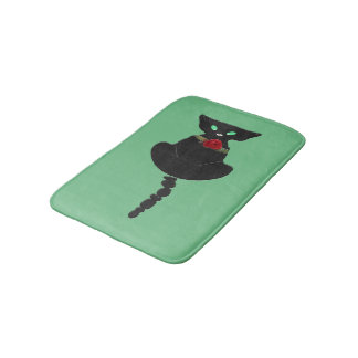 Sleek Black Cat Bath Mat