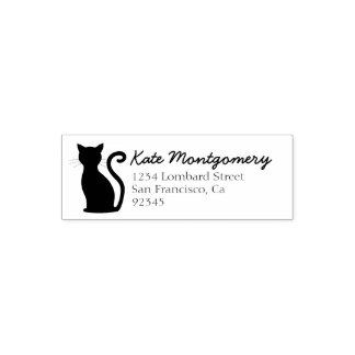 Sleek Black Cat Return Address Rubber Stamp
