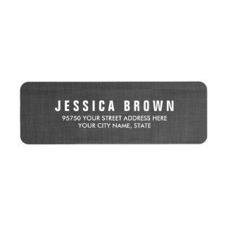 Sleek black Vintage Burlap Texture Address Label