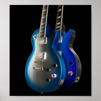 Sleek Blue Electric Guitars Poster