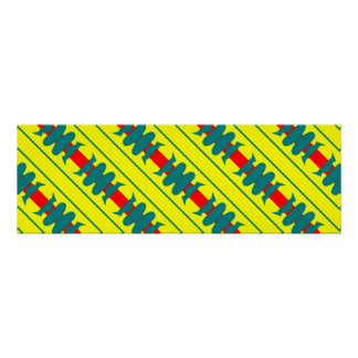 sleek cool fun blue red yellow racing stripes poster