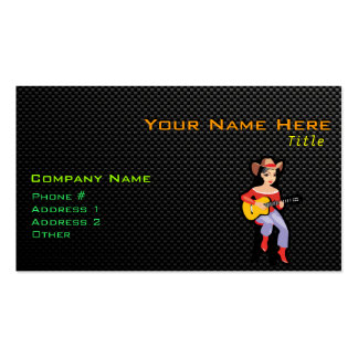 Sleek Cowgirl with Guitar Business Card Template