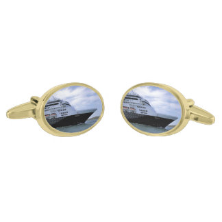 Sleek Cruise Ship Bow Gold Finish Cuff Links