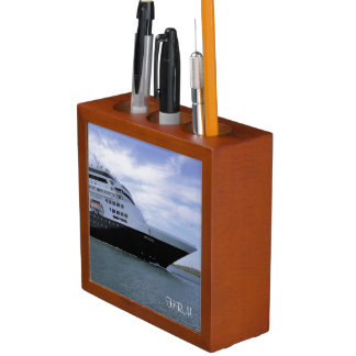 Sleek Cruise Ship Bow Monogram Desk Organiser