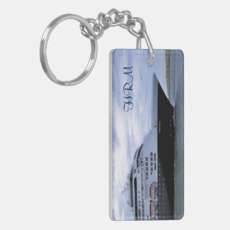 Sleek Cruise Ship Bow Monogrammed Key Ring