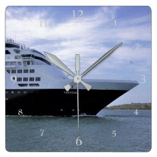Sleek Cruise Ship Bow Square Wall Clock