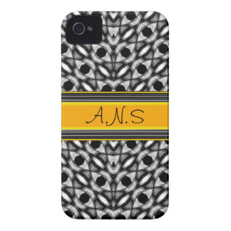 Sleek, customizable Black White and Yellow Pattern Case-Mate iPhone 4 Case