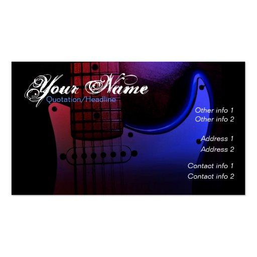 Sleek Electric Guitar Musician Business card