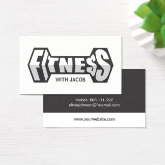 Sleek Fitness Dumbbell Typography Fitness Trainer Business Card