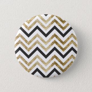 Sleek golden glitter black chevron pattern 6 cm round badge