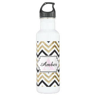 Sleek golden glitter black chevron pattern 710 ml water bottle