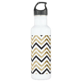 Sleek golden glitter black chevron pattern 710 ml water bottle