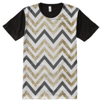 Sleek golden glitter black chevron pattern All-Over print T-Shirt