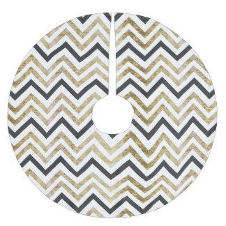 Sleek golden glitter black chevron pattern brushed polyester tree skirt