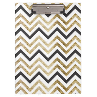 Sleek golden glitter black chevron pattern clipboards