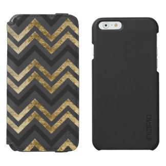Sleek golden glitter black chevron pattern incipio watson™ iPhone 6 wallet case
