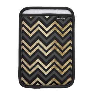 Sleek golden glitter black chevron pattern iPad mini sleeve