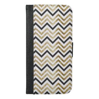 Sleek golden glitter black chevron pattern iPhone 6/6s plus wallet case