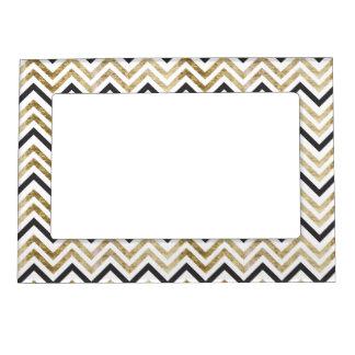 Sleek golden glitter black chevron pattern magnetic frame