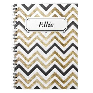 Sleek golden glitter black chevron pattern notebook