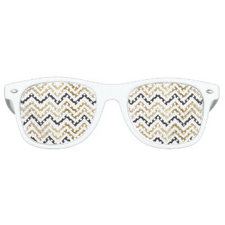 Sleek golden glitter black chevron pattern retro sunglasses