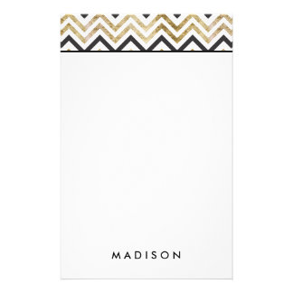 Sleek golden glitter black chevron pattern stationery