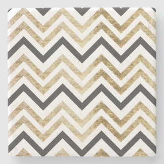 Sleek golden glitter black chevron pattern stone coaster