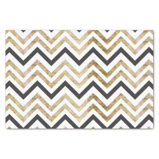Sleek golden glitter black chevron pattern tissue paper