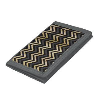 Sleek golden glitter black chevron pattern tri-fold wallet