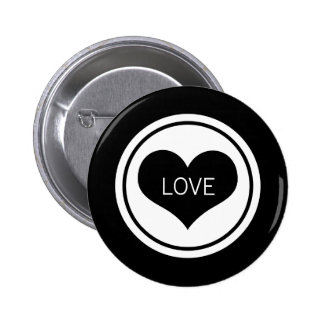 Sleek Heart Button, Black and White